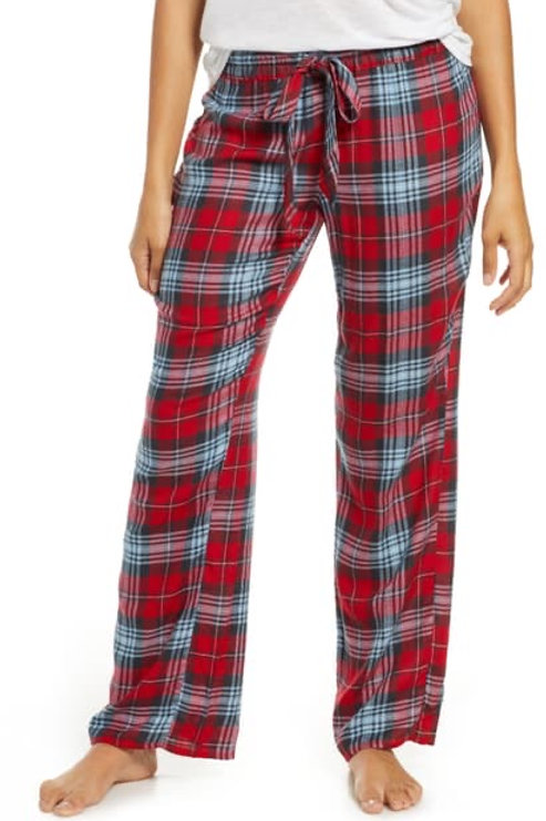 PJ SALVAGE Snowed In Red Plaid Pant