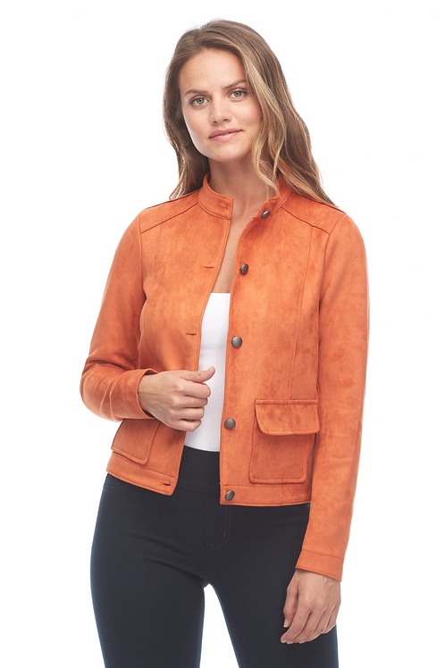 FDJ Burnt Orange Faux Suede Button Front Jacket