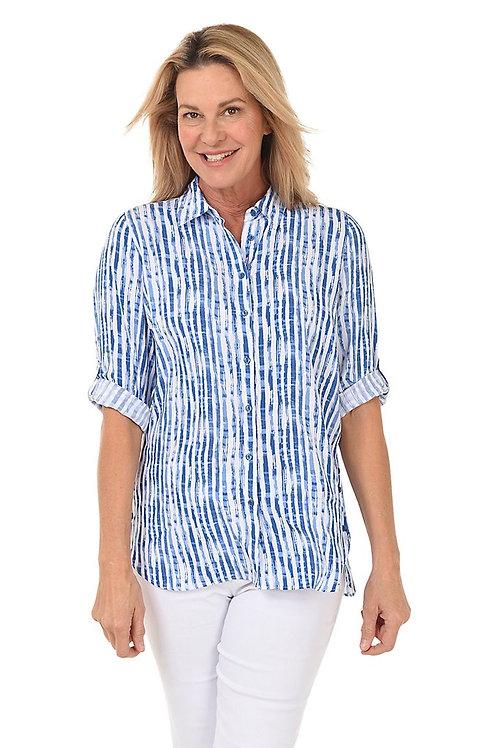 FDJ Hazy Striped Button Front Blouse - Indigo