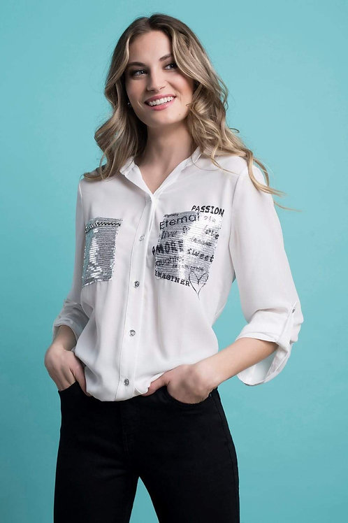 FRANK LYMAN Sequined Off-White