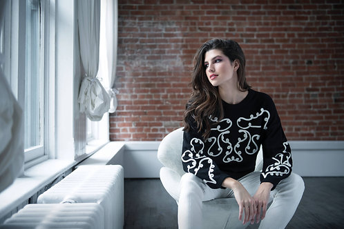 RENUAR Scrolled Black & White Sweater