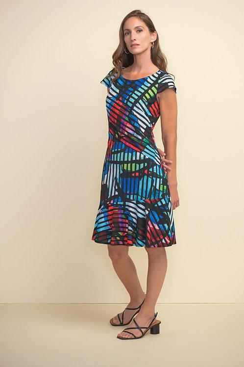 JOSEPH RIBKOFF Stripe-Print, Cap-Sleeve Dress
