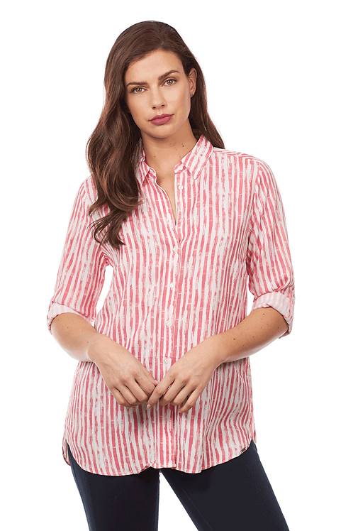 FDJ Hazy Stripe Blouse - Ruby