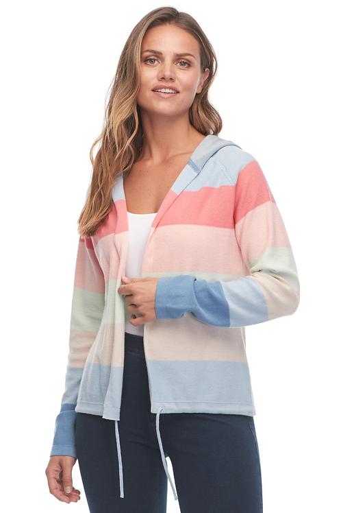 FDJ Rainbow Stripe Long Sleeve Hoodie Cardigan