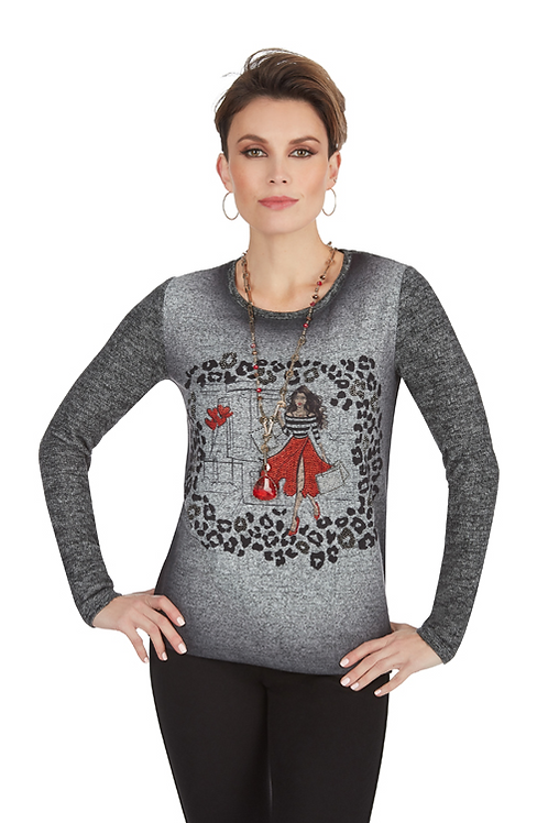 TRICOTTO Gray Embellished Sweater