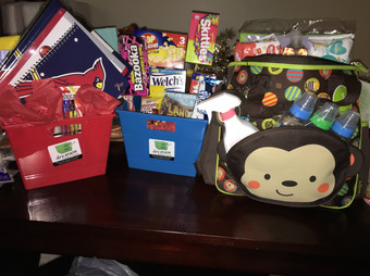 Gift basket trio for basket raffle: Baby Diaper bag basket, Cards' basket, and Movie night basket