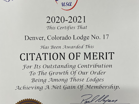 Denver 17 growing numbers recognized by Grand Lodge!
