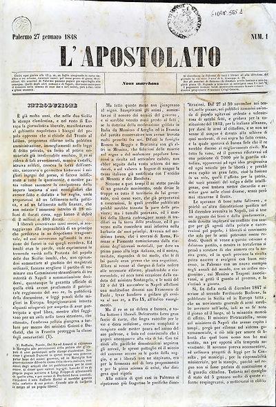 L'Apostolato, n. 1, 1848
