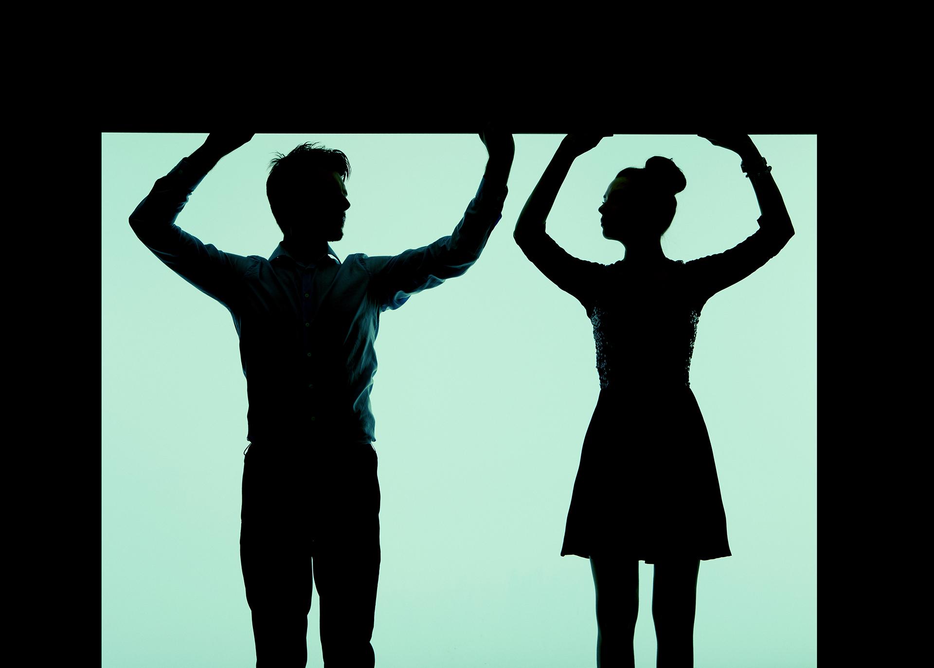 Silhouette jeune couple
