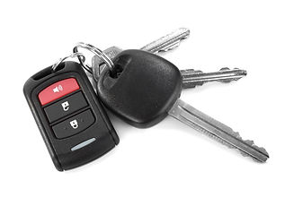 remote car key isolated on white backgro