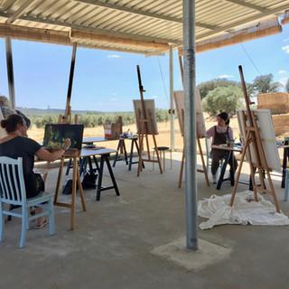 Outdoor space of the art studio