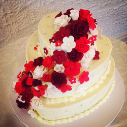 Heart Shaped Floral Tiered