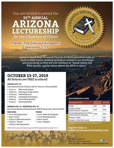 Arizona Lectureship 2019 Flyer