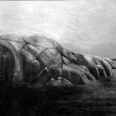 Långskärin musta hippo, hiili ja liitu,100x72cm, 2010