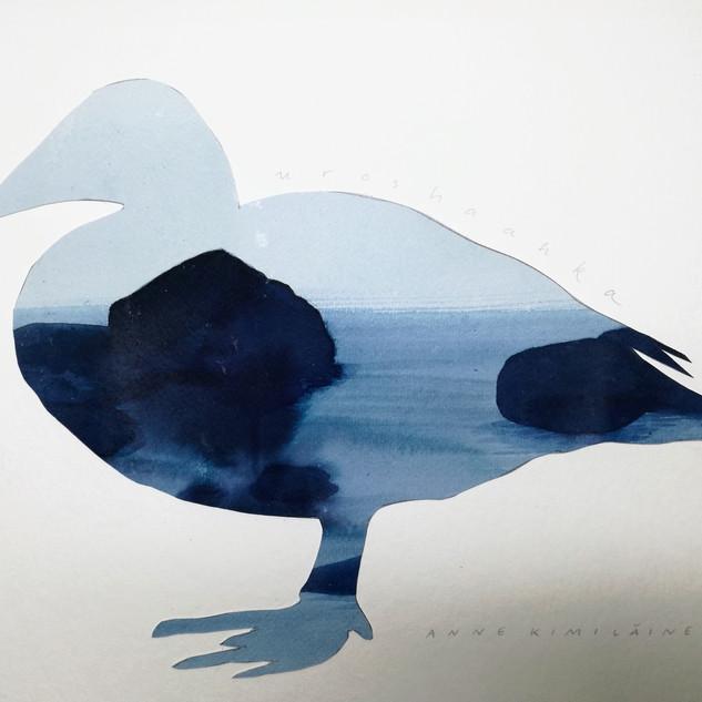 Haahka, paperileikkaus ja vesiväri, 30x40cm, 2019