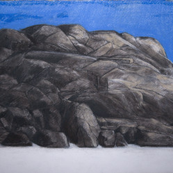 Karlby rock, 42x59cm, charcoal and tempera, 2014