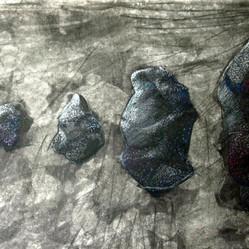 Charcoal footprint, 42x59cm, charcoal and tempera, 2014