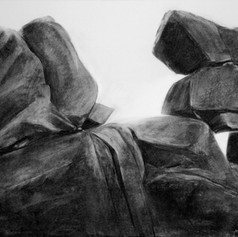 Kökarin Stonehenge, 70x52cm, hiili, 2009