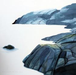 Blue 'Rocks, 55x55cm, vesiväri, 2019