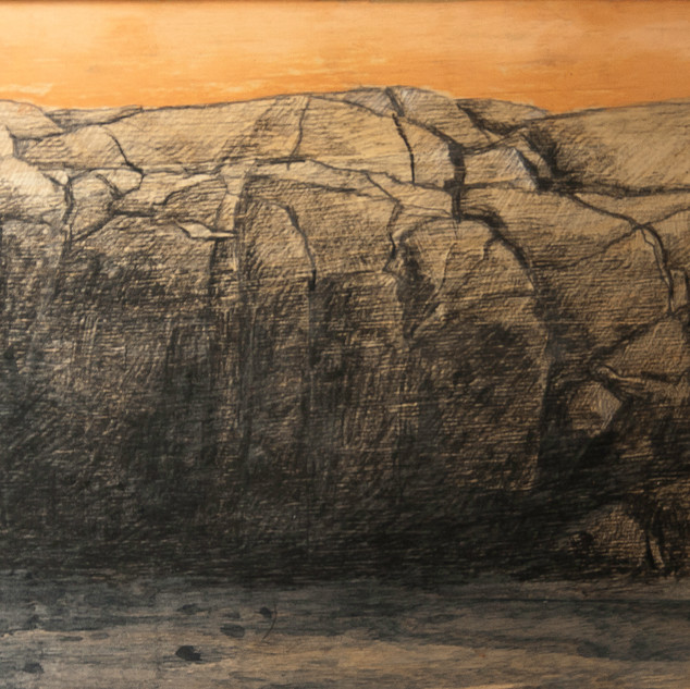 Favorite rock, 20x30cm, charcoal and tempera, 2014