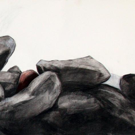 Turvapaikka, hiili, liitu, 70x54cm, 2012