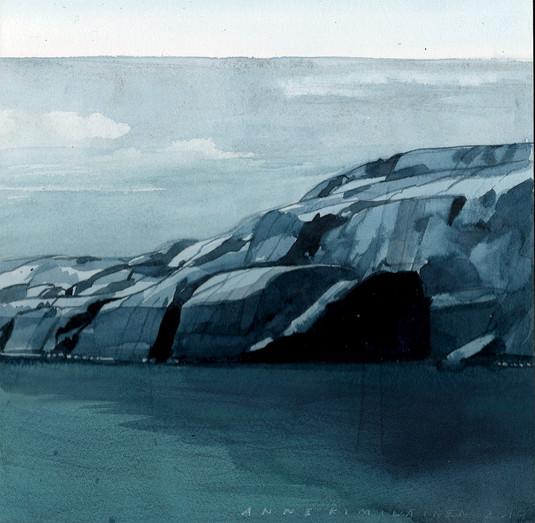 Grönvik, 30x30cm, vesiväri, 2019