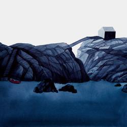 Kalastaja on kotona, vesiväri paperille, 56x38cm, 2021