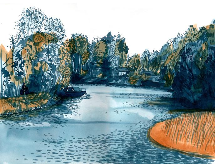 Kokemäenjoki ja kolme luotoa, 30x40cm,   vesiväri, 2021