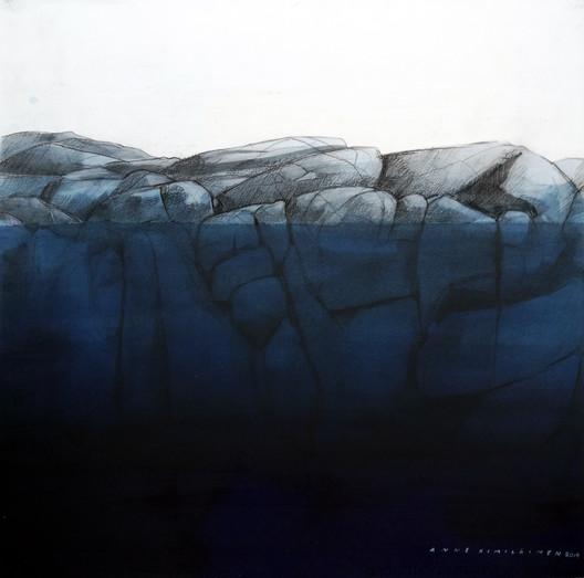 Äkkisyvä, 55x55cm, vesiväri, 2019