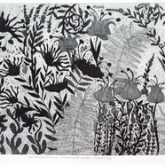 Tribute to the curtains of a cotton factory, etching equator, 30x60cm, 2017