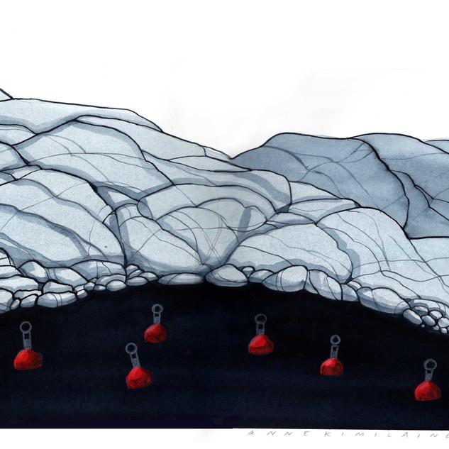 Punaiset poijut, 2019, 30x40cm, vesiväri