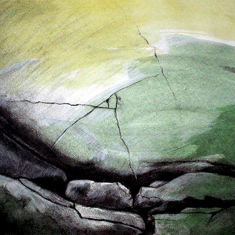 Aurinko ja meri, hiili, vesiväri, 50x42cm, 2008