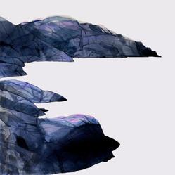 Pink Rocks, 55x55cm, vesiväri, 2019