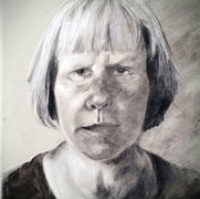 Self-portrait 30x42cm, charcoal, and chalk, 2017
