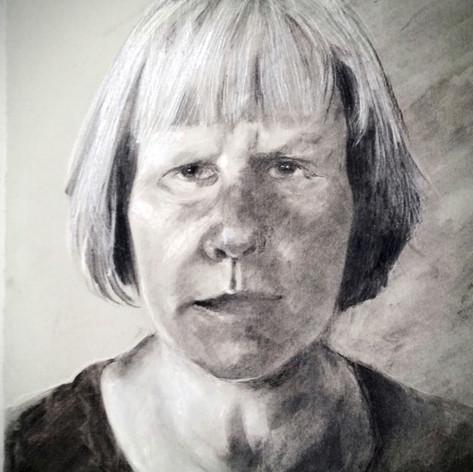 Self-portrait 30x42cm, charcoal, and chalk, 2017