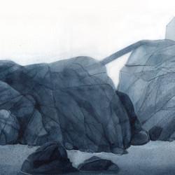 Kalastaja(kin) on kotona, vesiväri paperille, 60x21cm, 2021