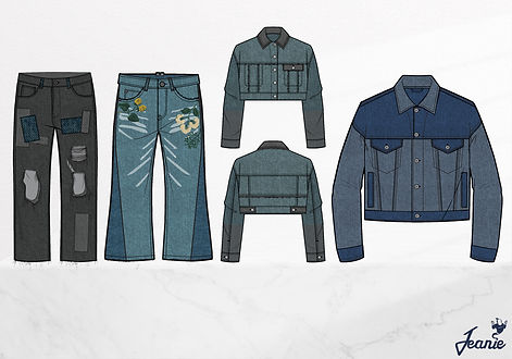 Patchwork Denim CAD Illustrations