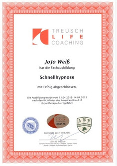 Schnellhypnose Zertifikat Jojo Weiß