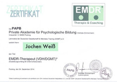 Emdr Jojo Weiss Zertifikat