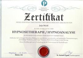 Hypnosetherapie Hypnoanalyse Zertifikat