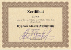 Hypnose Master Ausbildung Zertifikat