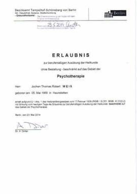 Hypnosetherapie Erlaubnis