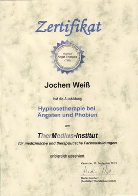 Jojo Weiss Hypnosetherapeut Zertifikat