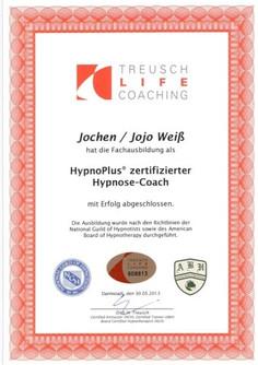 Hypnose Coach Jojo Weiss Zertifikat