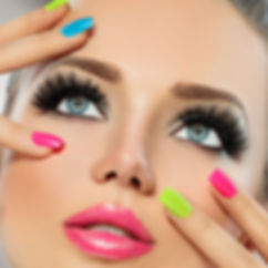 Blonde model wearing red lipstick