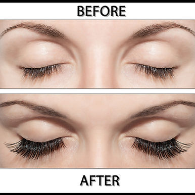 Before and after lash extension image
