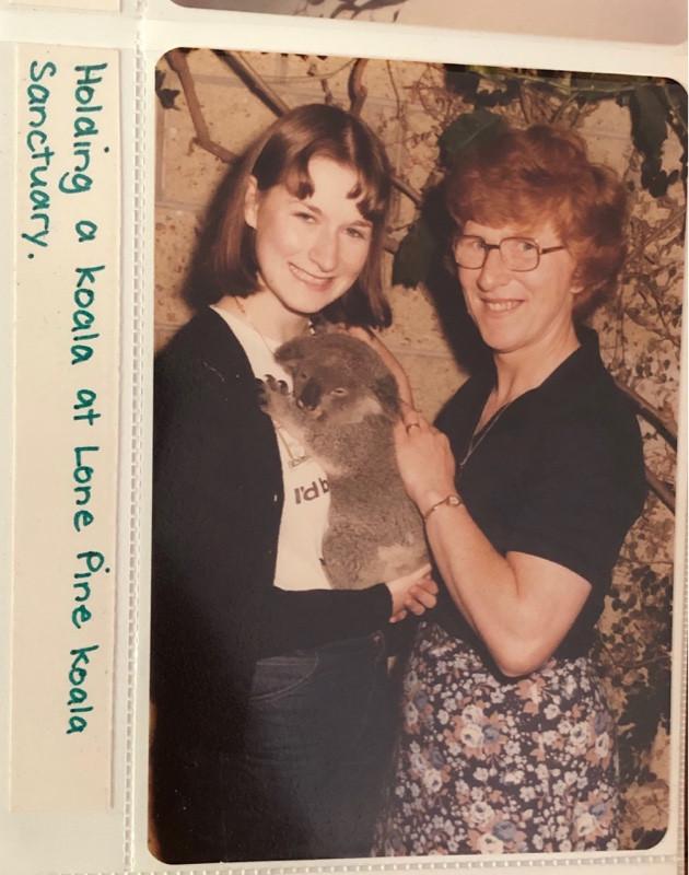 Two women at Lone Pine Koala sanctuary in 1980