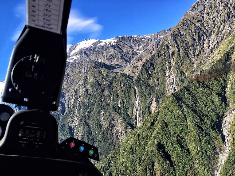 Mountainous views from a helicopter flight in Fox Glacier