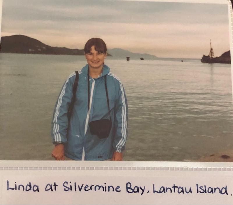 Lady on shore of Lantau Island, Hong Kong
