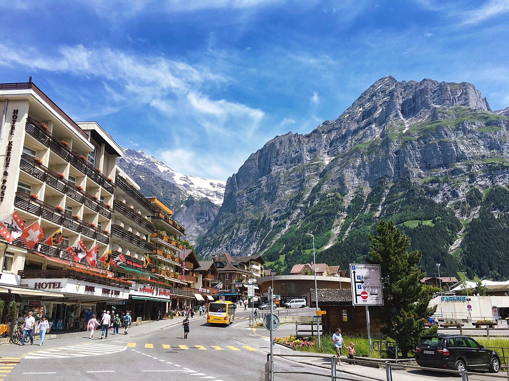 The centre of Grindelwald, against a gorgeous backdrop of mountains